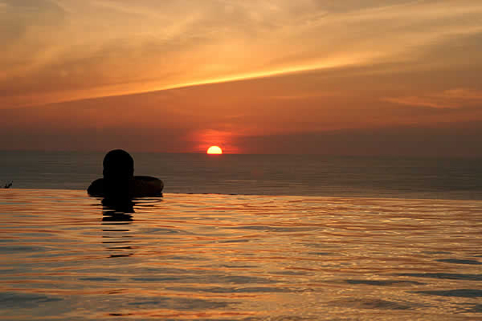 Sunset from private pool